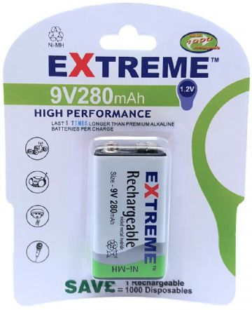 Extreme PP3 280 mAh 9V Rechargeable Battery
